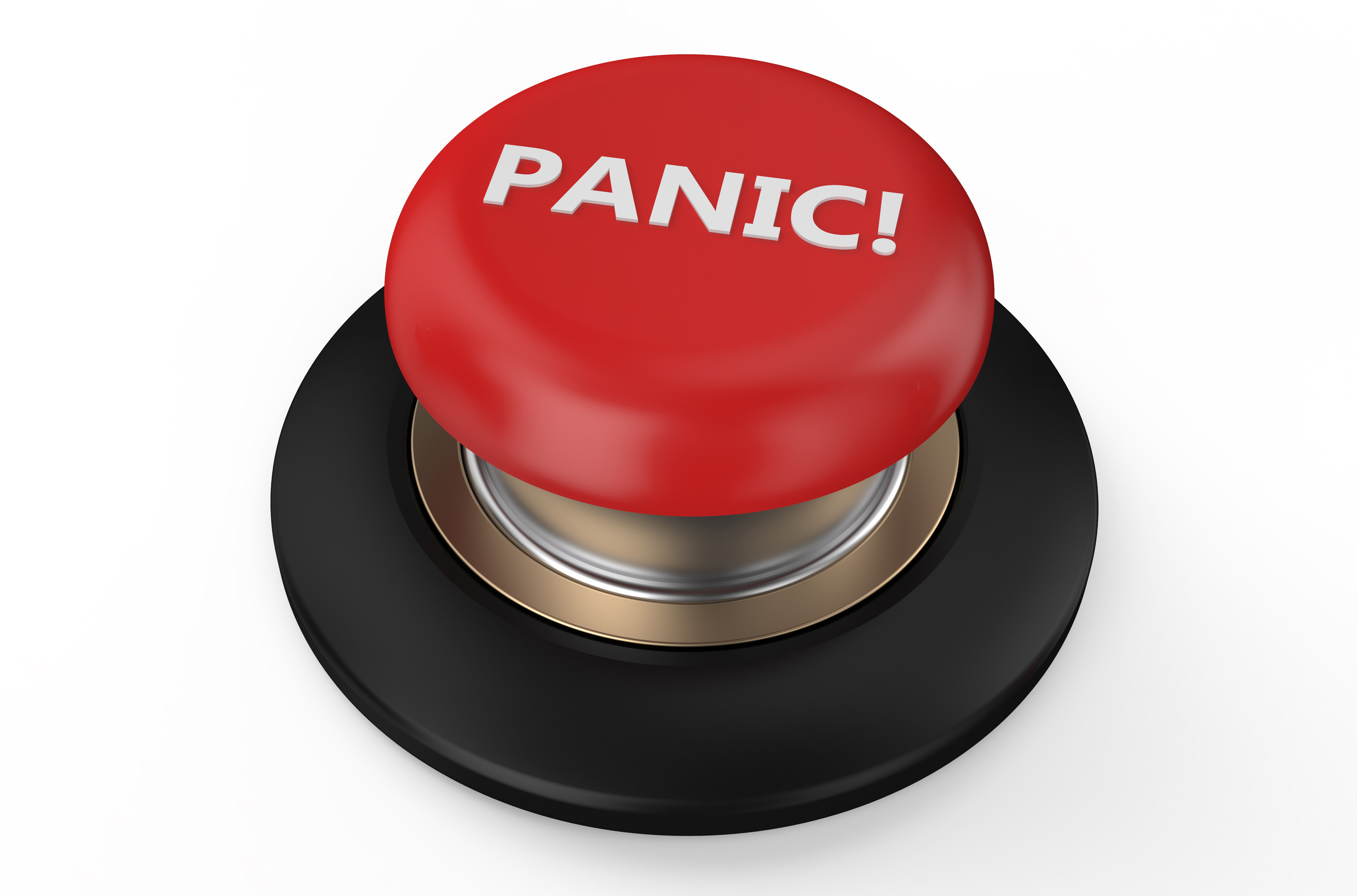 Red panic button isolated on white background